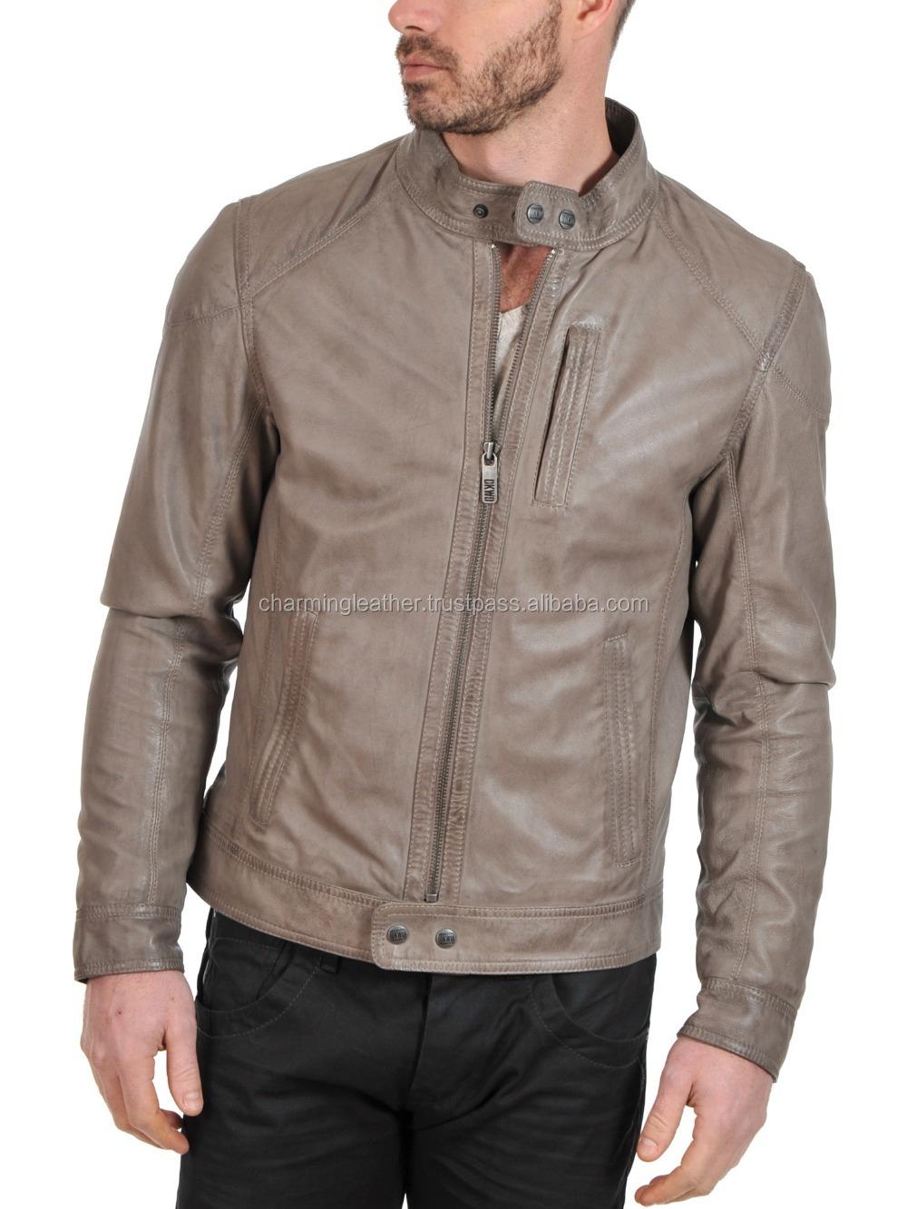 Stylish Collar Short Leather Jacket Mens 2015 New Style Leather