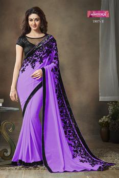 a07d8c7673073b Indian Designer Plain Georgette Saree Heavy Zari Work Border with  Embroidery Work Silk Blouse