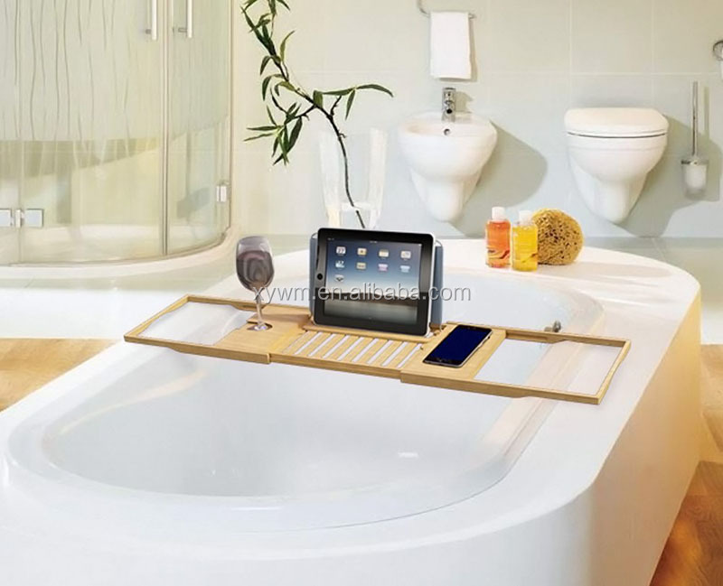 DT003 Bamboo Bathtub Caddy Tray With Extending Sides And Bath Table Shelf  Holds Tablet Book Phone