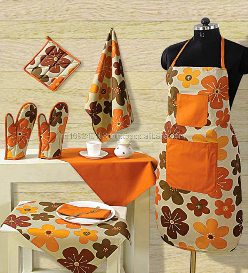 Kitchen Pot Holder,Oven Mitten,Tea Towel,Apron Set
