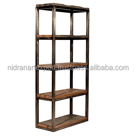 Industrial & vintage iron metal & wooden antique book case