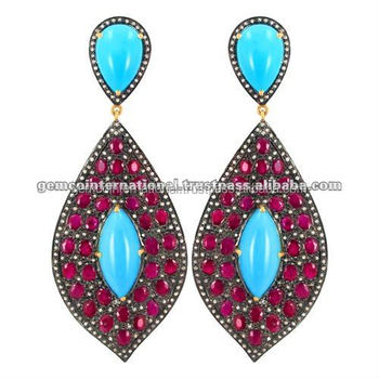 14k Gold Diamond Gemstone Turquoise Ruby Stone Dangle Earring