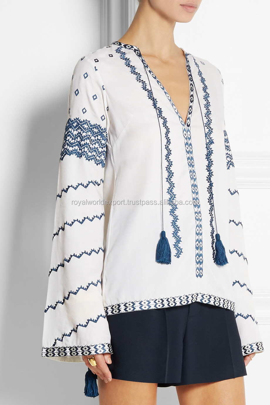 Latest Modern Embroidered Kali 100 Cotton Voile Top