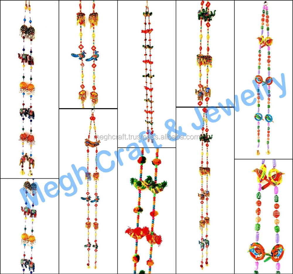 wholesale beaded crystal work wall hanging diwali special decor items pearl beaded door hanging - Home Decor Item
