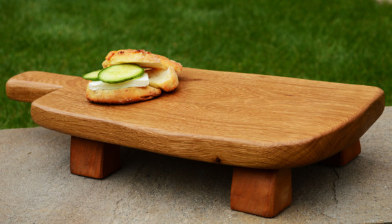 Handmade Serving Platter Oak Wood Chopping Board Wooden Tray Unique