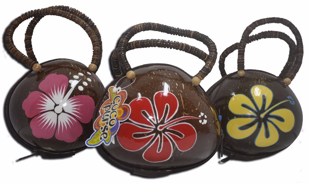 Hawaiian Coco Shell Bag With Painting Flower Design Hand Bag