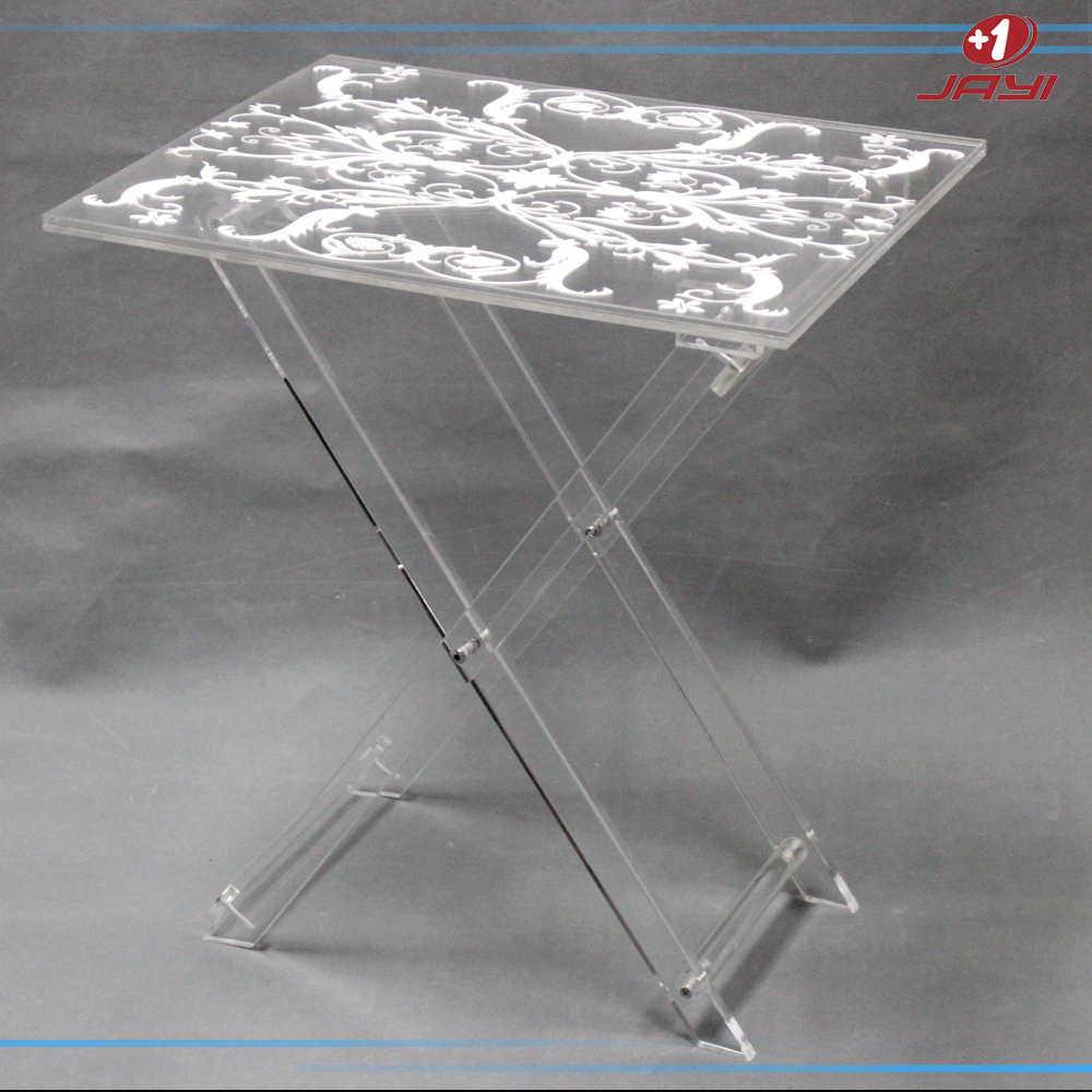 White Decorated Clear Acrylic Tv Tray Folding Coffee Table