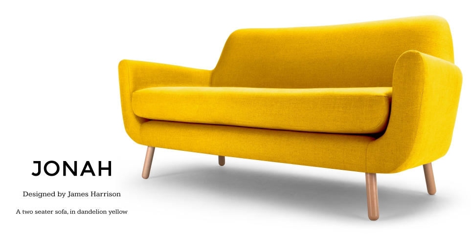 Jonah 2 Seater Sofa Dandelion Yellow