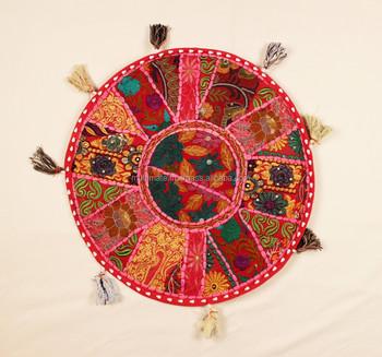 Pink Round Meditation Cushion Indian Round Toss Pillows Cotton Vintage Sari  Patchwork Round Pillows
