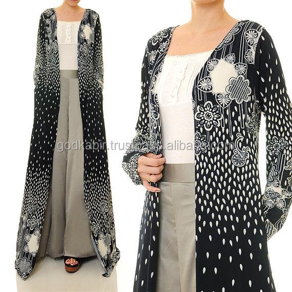 Terbaik Vintage Desain Kualitas Tinggi Dicetak B W Cardibaya Terbuka Kardigan Lengan Panjang Maxi Dress Seluruh Penjualan Dan Tingkat Murah Gaun