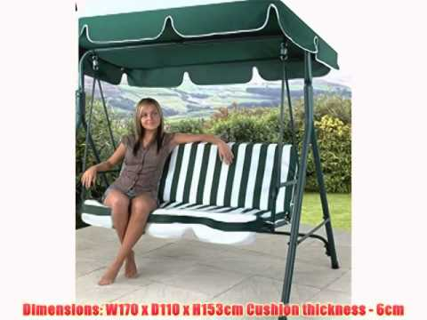 Get Quotations · 3 SEATER GARDEN PATIO SWING SEAT CHAIR HAMMOCK   GREEN  U0026amp; WHITE STRIPED