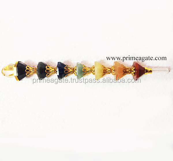 Chakra Pyramid Golden Healing Stick From Prime Agate Exports | Wholesale Spiritual Wands For Sale