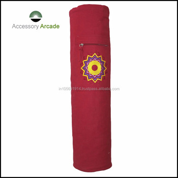 Daily used yoga mat bag 100% cotton fabric with single chakra embroidery design