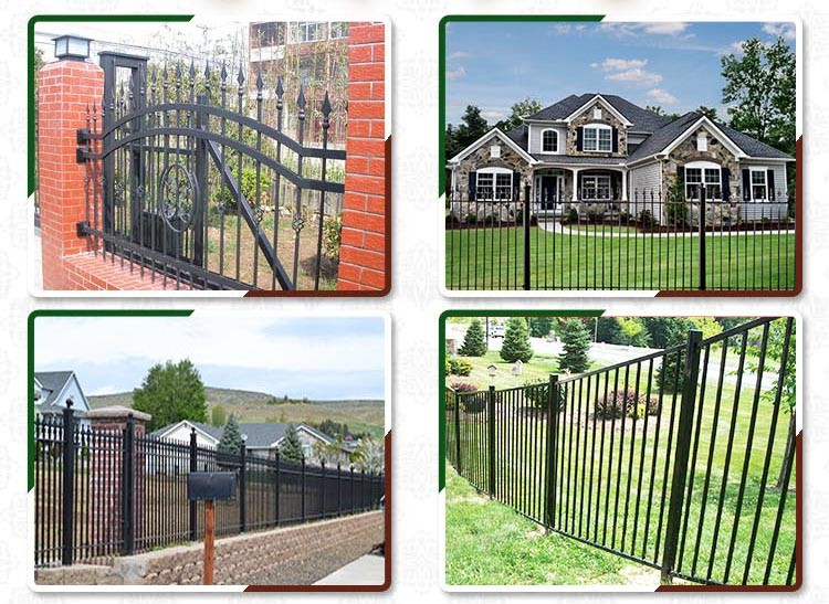 High Quality Recyclable Custom Printed Prefab Wrought Iron Fence Panels, Prefabricated Used Metal Steel Fence