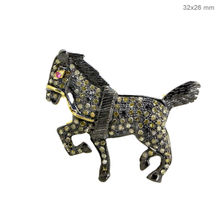 14K Yellow Gold Pave Diamond Horse Brooch Pendant 925 Silver Ruby Gemstone Fashion Jewelry