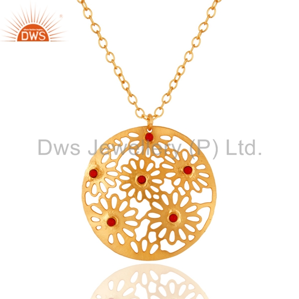 Wholesale Filigree Design Coral Gemstone Pendant Gold Plated Brass Chain Pendants Manufacturers of Indian Jewelry