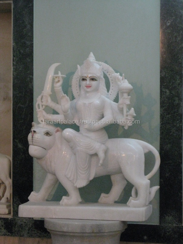 White Marble Maa Durga sitting on close mouth Lion Statue