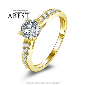 4 Prong Classic 10k Gold Yellow Classic Ring Hot Sale Round Sona ...