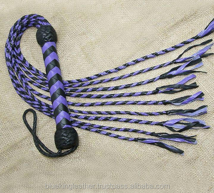 Genuine Real Leather Flogger Bull Hide Leather Flogger Whip 09 tressé Tails