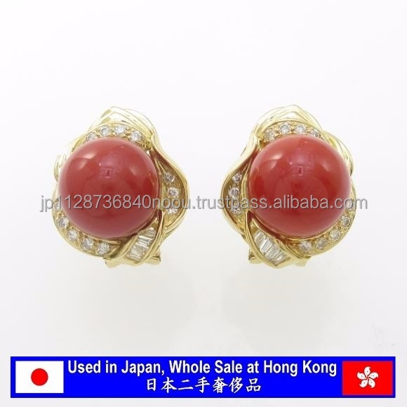 Genuin and High quality red coral pierce for wholesaler , Japanese Jewelry wholesale only at Hong Kong