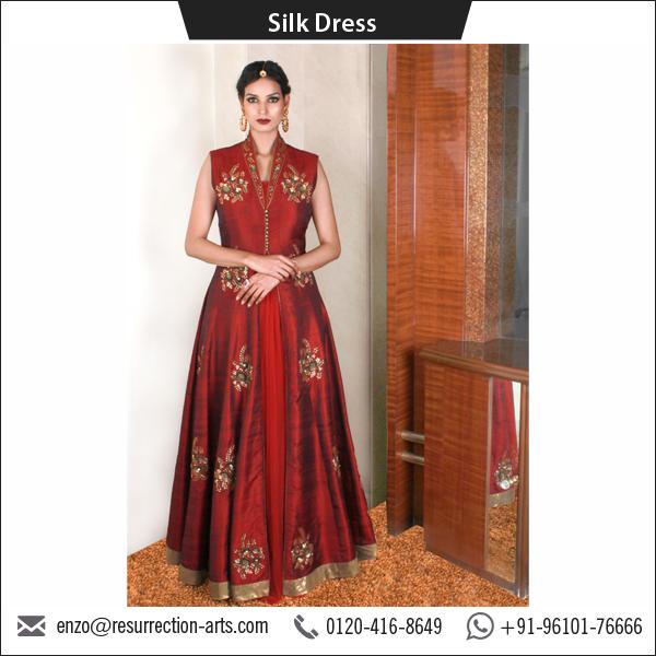 Maroon Raw Silk Anarkali Style Silk Dress With Front Open Jacket ...