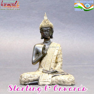 Buy small wholesale mini buddha statues with golden adorn stone studded