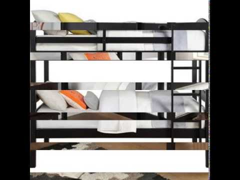 Solid Wood Twin Bunk Bed - Twin Over Twin in Black By Mainstays