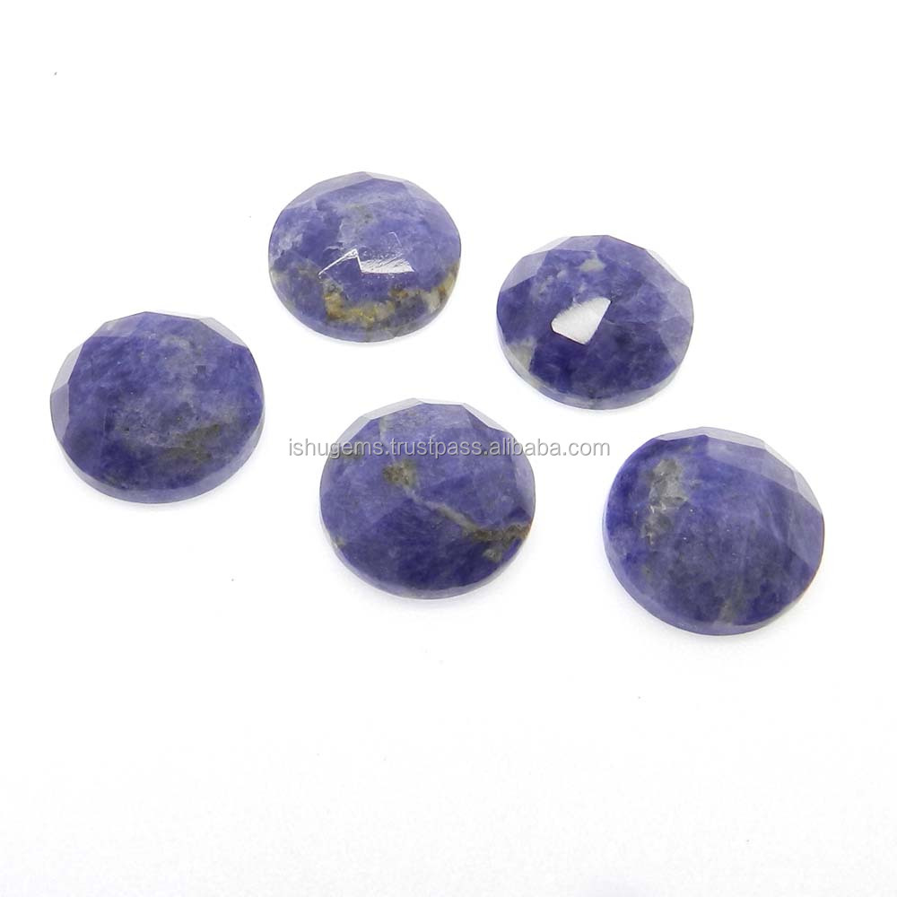 Round checker cut loose semi precious 16x16mm natural sodalite 15 cts gemstone for jewelry