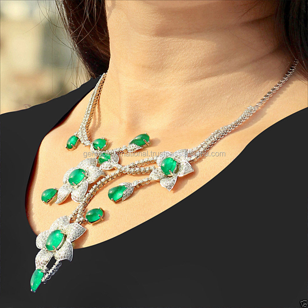 Emerald Diamond 18k Gold Earrings And Necklace Set Buy Earrings