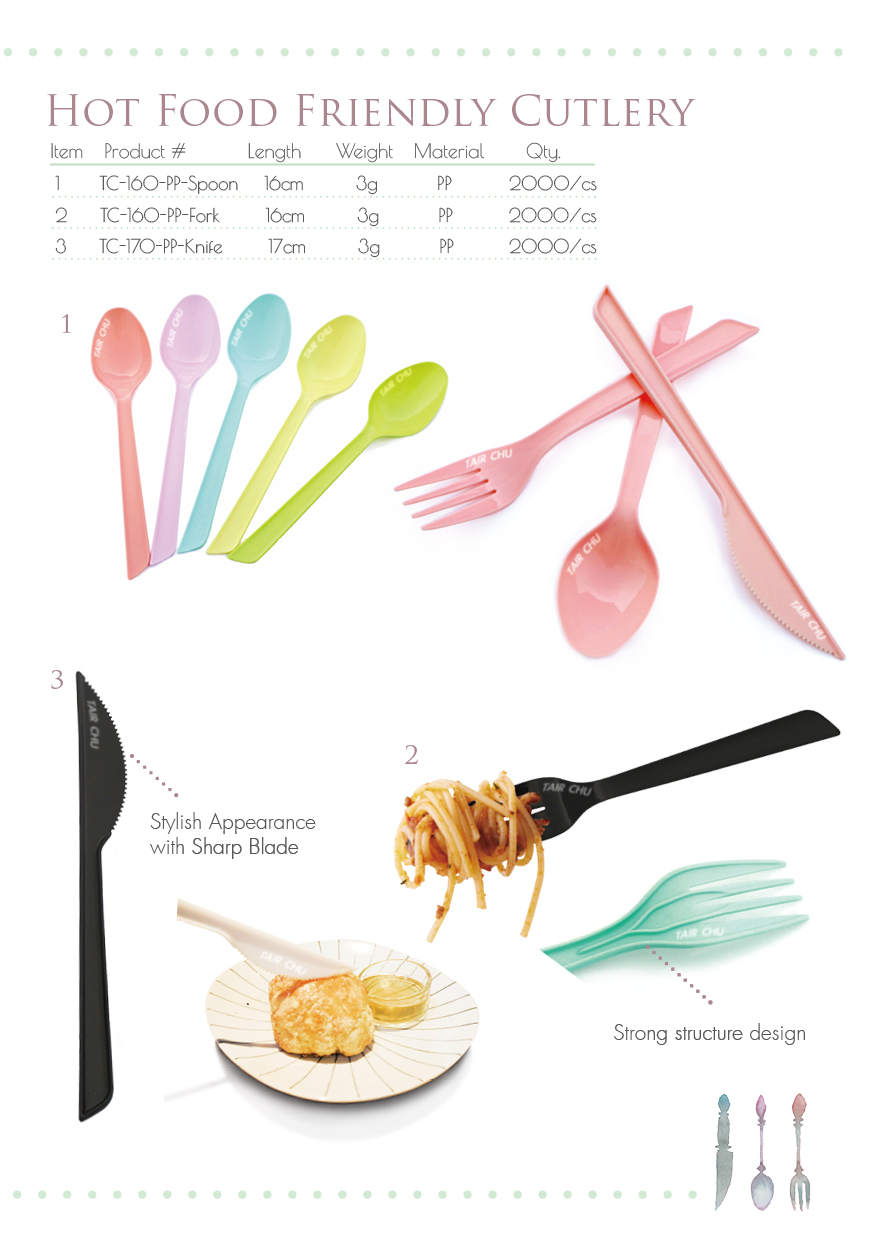 High Quality Made in Taiwan Disposable Plastic Black Cutlery