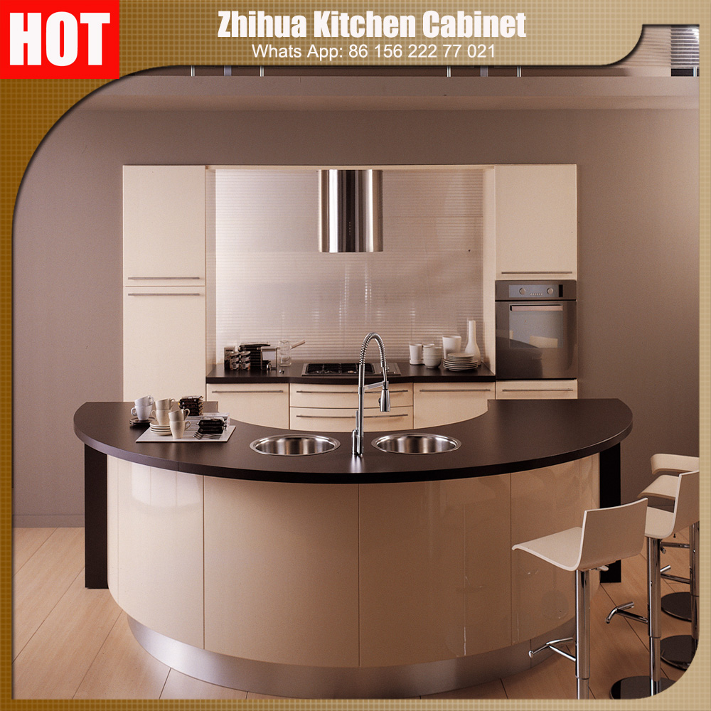 Guangzhou zhihua kitchen cabinet accessories factory - Zhihua High Gloss Acrylic Indian Kitchen Cabinet With Elegant Design And Color Combination