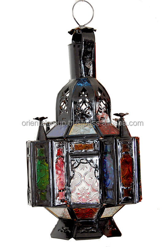 Moroccan handcrafted nickel and multicolored glass chandelier