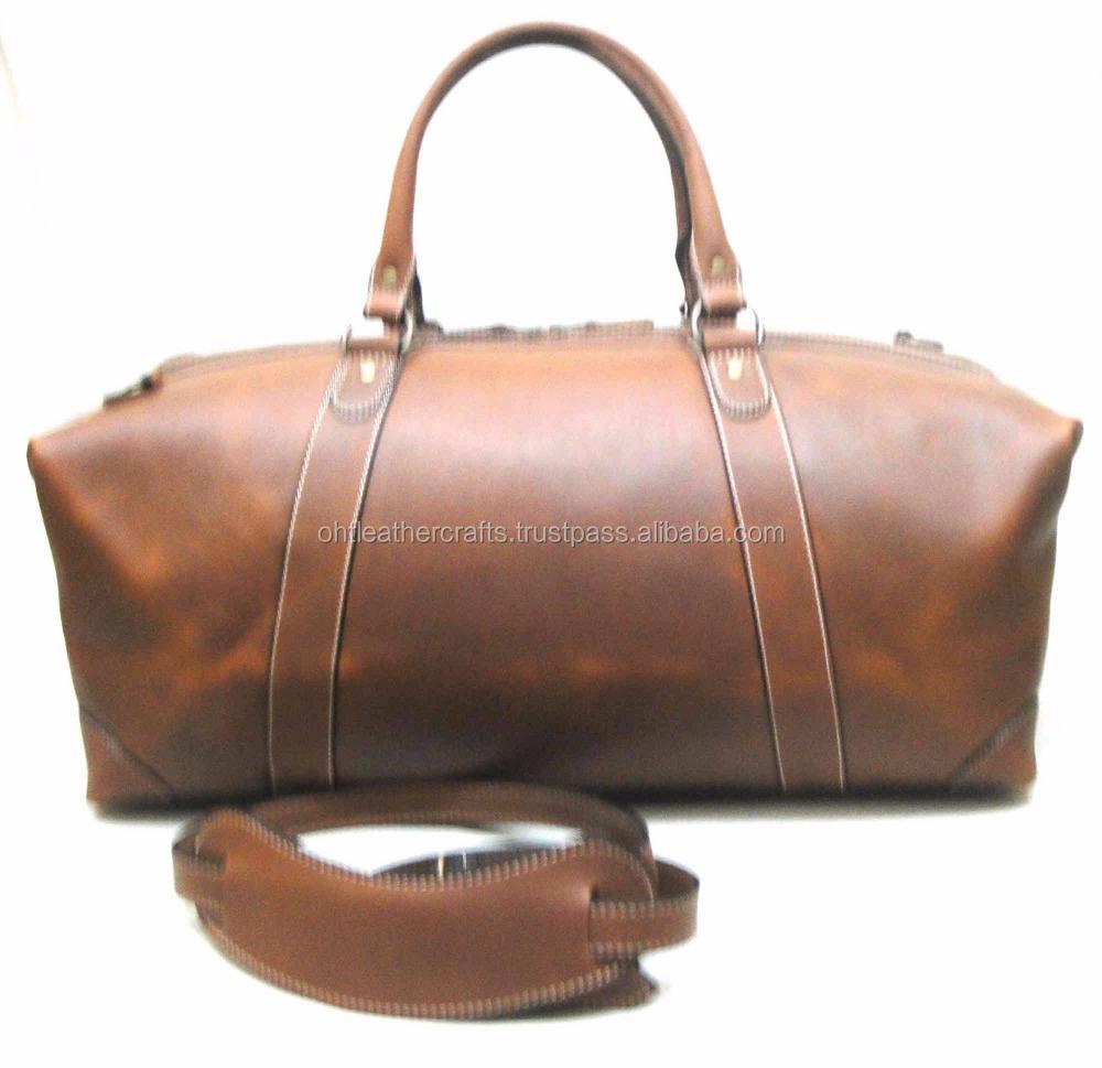 Calf Leather Vintage Duffel Weekender Bag Genuine Weekend Mens Bags For Men Product On