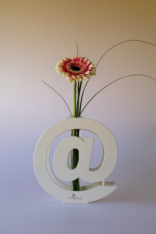 Vase Glass, Vase Letters and Numbers in Iron or Steel,Cor-ten, HandMade in Italy