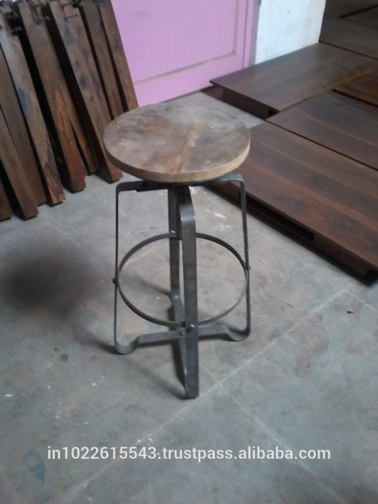 Industrial vintage barato metal taburete de bar galvanizado taburete de la barra taburetes de - Taburete bar barato ...