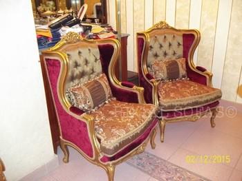 Luxus Antiken Rot Gold Sessel Samtstoff Louis Xv Traditionellen