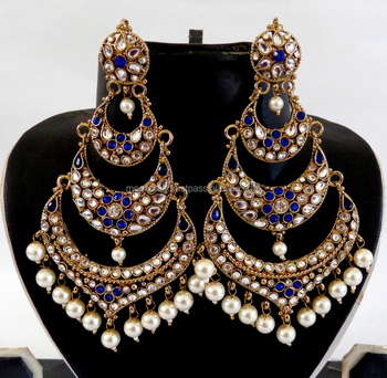 Whole Indian Chandelier Earrings Stani Kundan Jewellery Long Punjabi