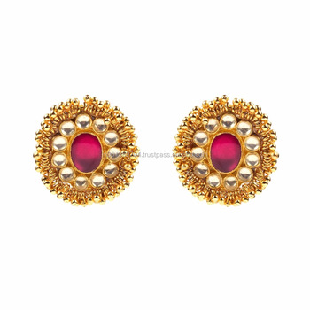 96cb7cf65 Big Red Color Stone Kundan Gold Plated Fashion Teen Design Tops Style  Latest Daily Wear Stud