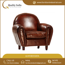 Top Quality Designer Oval Shape Leather Tufted Comfort Sofa