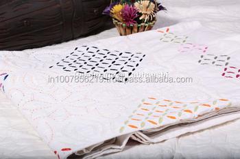 White Cutwork With Fine Hand Kantha Work Quilt Handmade Applique ...