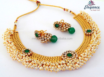 Indian Traditional Pearl Jewelry Set Whole Beaded Necklace Bollywood Fashion Jewellery