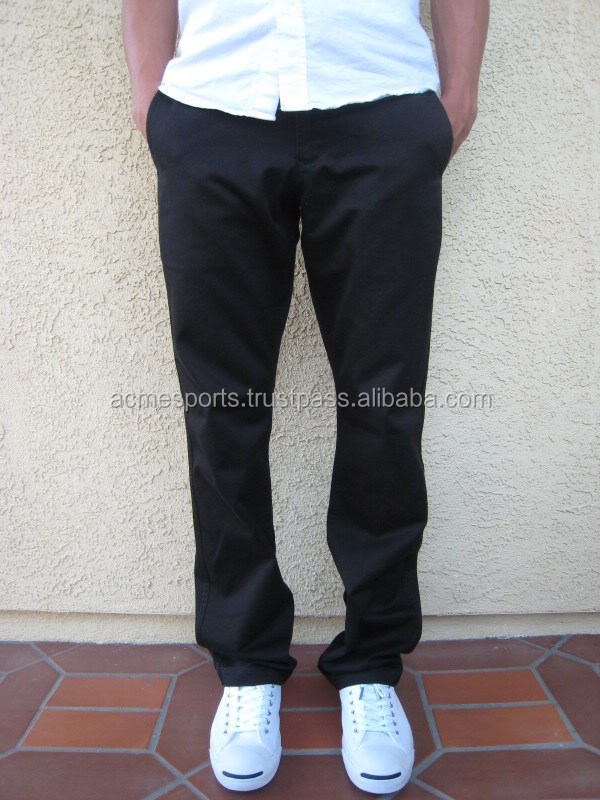 Brand new Cotton Mens Black Loose Fit Chino Pants - Buy Thai Style Pants  RE33