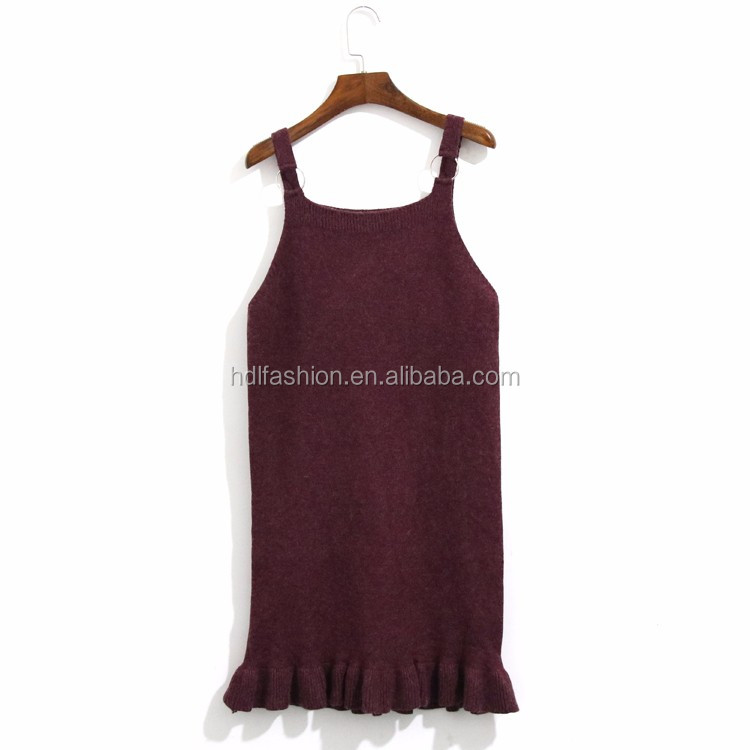 New product fashion design ladies knitted ruffle dress bulk camisole tops