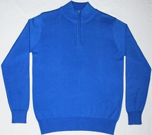 Men's Flat Knitted Pullover Mock Neck Half Zip Sweater 100% Cotton & Buyer's Customized OEM Service Sweaters