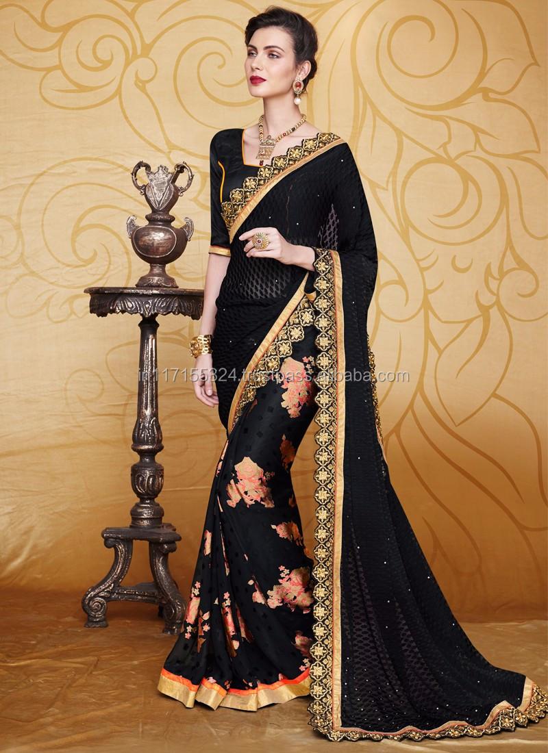 da758e7839 Black designer net saree - Ready made saree - Designer net saree with  border - Marwadi saree - New style saree blouses Eyuio