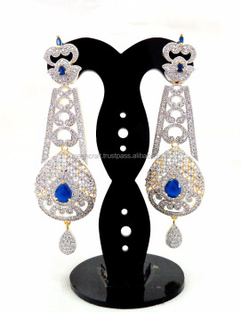 6188d6d725050 Cz Earrings Online Wholesale-bollywood Style Gold Plated Cz Earring -  Wholesale American Diamond Dangle Earring - Gift For Her - Buy American  Diamond ...