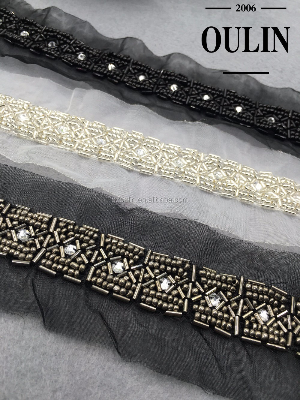 Gun color glass tube lace tarnish beaded chain lace polyester lace trimming for garment accessories