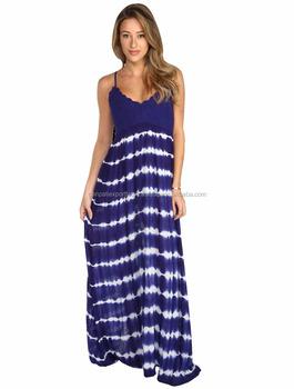 Stylish & Designer Full-length Tie & Dye rayon Spaghetti Strap Dress With  crochet Yoke