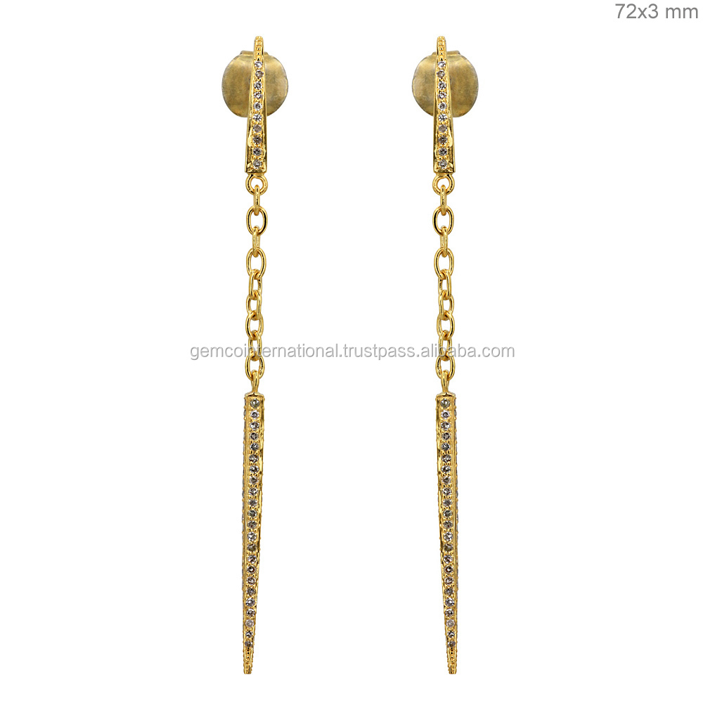 Pave Diamond Simple Gold Earring Designs For Women - Buy Simple ...
