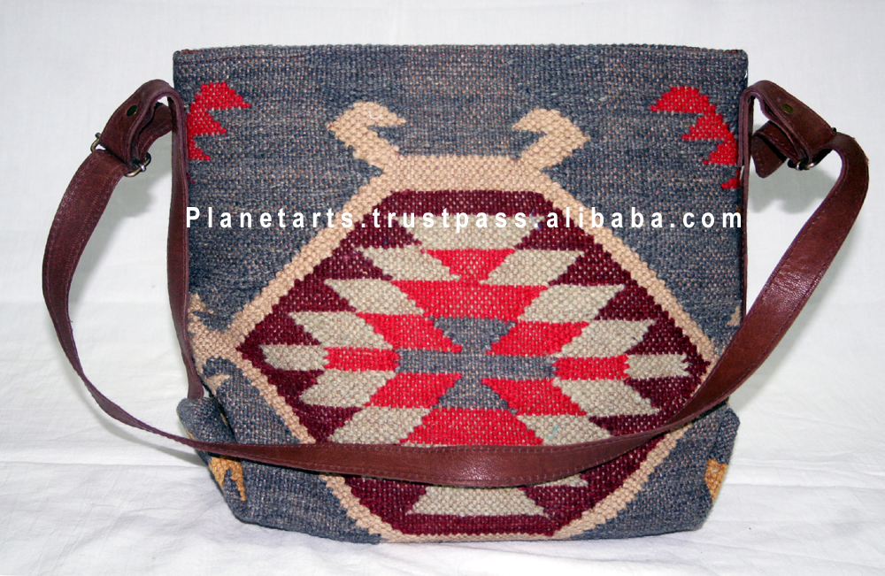 wool kilim bag leather bag